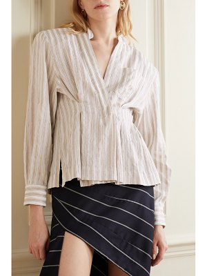 TRE by Natalie Ratabesi striped cotton and linen-blend voile blouse