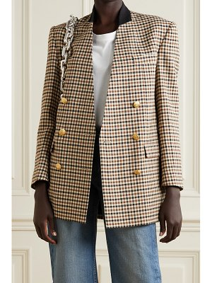 TRE by Natalie Ratabesi the diana oversized double-breasted felt-trimmed checked twill blazer