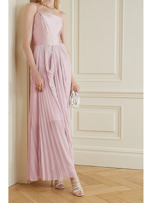 TRE by Natalie Ratabesi the selenite pleated georgette and silk-twill gown