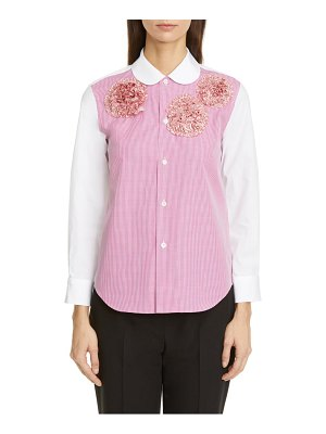 Tricot Comme des Garcons rosette embellished gingham button-up shirt