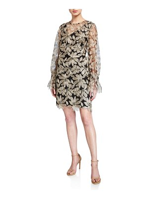 Trina Turk Floral Embroidered Long-Sleeve Mesh Shift Dress