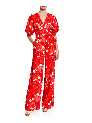Trina Turk Formation Abstract-Print Short-Sleeve Wide-Leg Jumpsuit