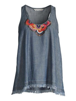 Trina Turk shangri la raindrop embellished chambray top