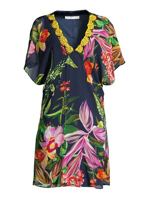 Trina Turk shangri-la rainforest print silk shift dress