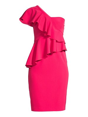 Trina Turk shangri-la waterfall one-shoulder sheath dress