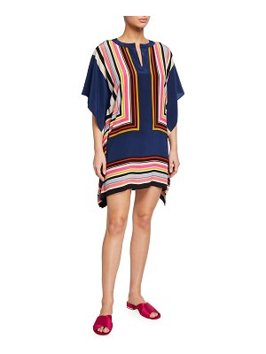 Trina Turk Theodora Multi-Stripe Silk Dress