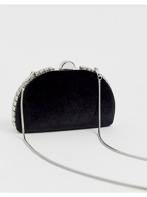 True Decadence black embellished half moon clutch