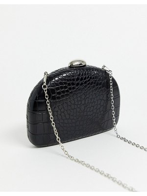 True Decadence black mock croc half moon clutch bag