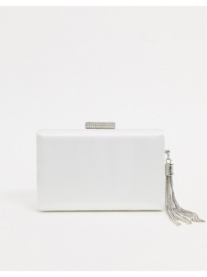 True Decadence true decadance clutch bag in white satin with silver chain tassel
