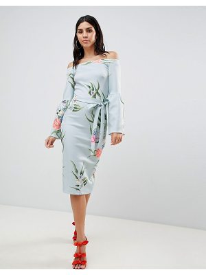True Violet Bardot Dress With Flare Sleeves