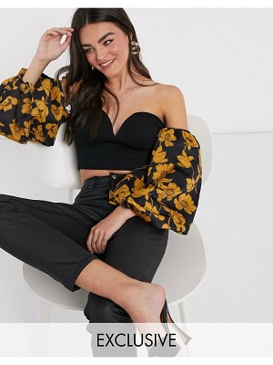 True Violet exclusive off shoulder sweetheart top in black with ochre floral contrast sleeves