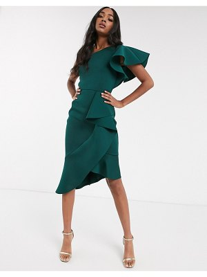 True Violet exclusive one shoulder asymmetrical midi dress in forest green