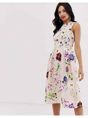 True Violet exclusive skater midi dress in floral print-multi