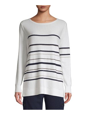 TSE Cashmere Chain Stripe Long Sleeve Sweater