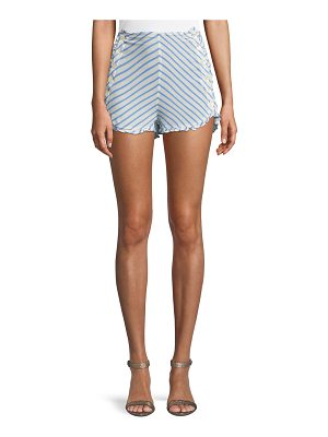 Tularosa Ray Striped High-Rise Button-Up Shorts