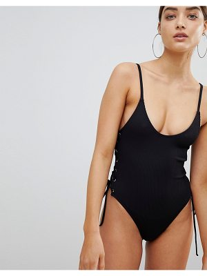 Twiin Mackenzie Rib Lace Up Swimsuit