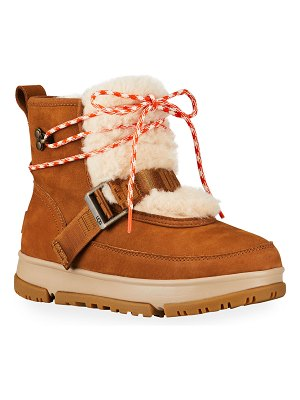 UGG Classic Weather Waterproof Leather Hiker Boots w/ Faux-Fur Trim