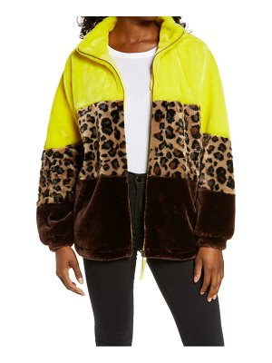 UGG ugg elaina colorblock faux fur coat