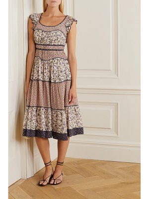 Ulla Johnson odelia ruffled tiered floral-print cotton-blend voile midi dress