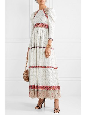 Ulla Johnson salma open-back embroidered macramé and linen and cotton-blend gown - off-white