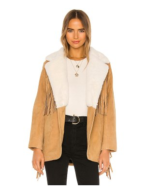Understated Leather Ultimate buttercup blazer with faux fur collar