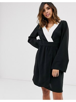 UNIQUE21 contrast trim kimono sleeve dress-black