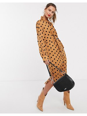UNIQUE21 front button polka dot pussybow dress-multi