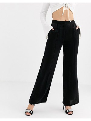 UNIQUE21 relaxed wide leg pants in shimmer two-piece-black