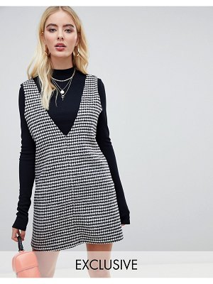 UNIQUE21 structured mini dress in oversized houndstooth-black