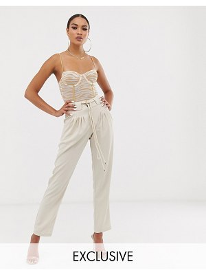 UNIQUE21 tapered high waist pants with rope belt-white