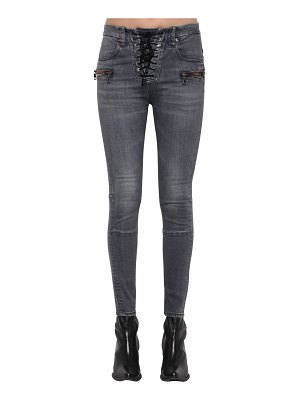 Unravel Cotton denim lace up skinny jeans