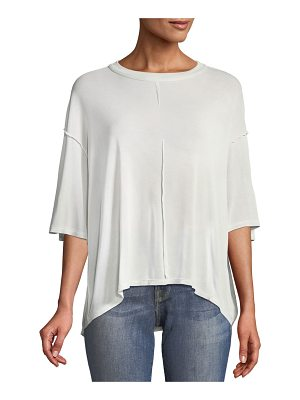 Unravel Crewneck Cutout-Back Silk Tee