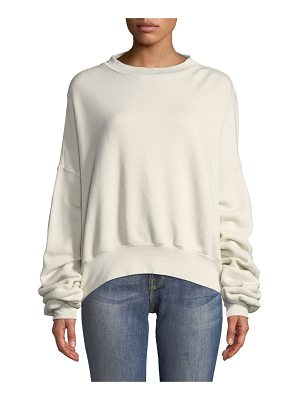 Unravel Crewneck Open-Back Cotton Terry Sweatshirt