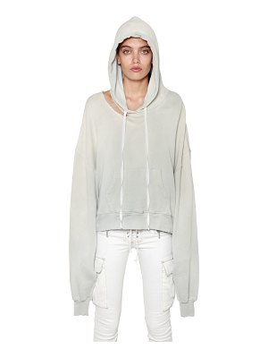 Unravel Cutout hooded french terry sweatshirt