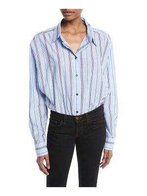Unravel Deconstructed Long-Sleeve Button-Down Striped Bodysuit