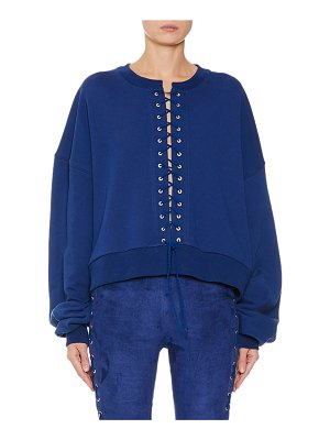 Unravel French-Terry Lace-Up Sweatshirt