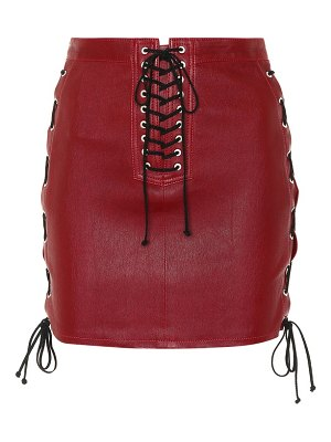 Unravel lace-up leather skirt