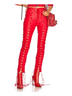 Unravel Leather All Over Lace Up Skinny Pants