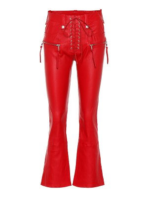 Unravel leather lace-up flared pants