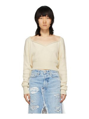 Unravel off-white cashmere v-neck sweater