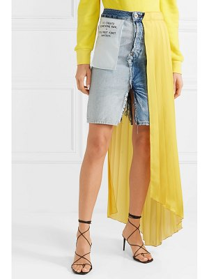 Unravel Project asymmetric distressed denim and pleated crepe de chine skirt