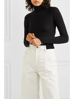 Unravel Project distressed ribbed wool and cashmere-blend turtleneck bodysuit