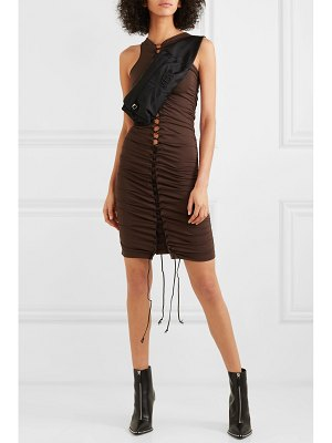 Unravel Project lace-up ruched stretch-jersey mini dress