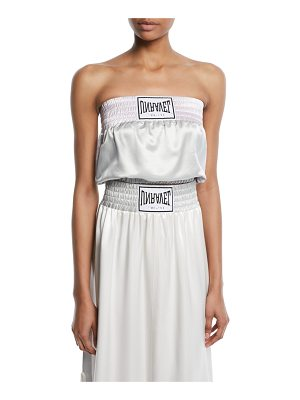 Unravel Strapless Boxing-Inspired Satin Top
