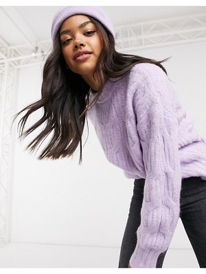 Urban Bliss balloon sleeve cable knit sweater in purple