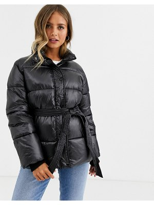 Urban Bliss belted jacket in matte black