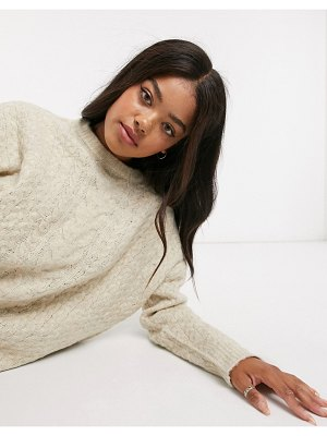 Urban Bliss crew neck cable knit sweater in light gray