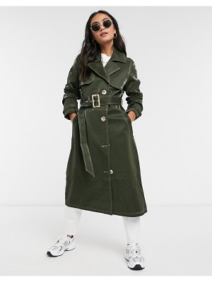 Urban Bliss vinyl mac jacket in khaki-green