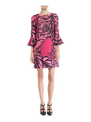 Valentino 3/4-Sleeve Tiger-Print Crepe Couture Shift Dress