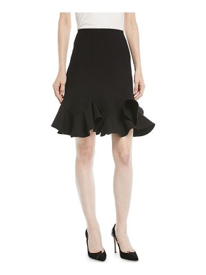 Valentino A-Line Crepe Couture Knee-Length Skirt with Ruffle Hem